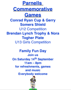 Parnells Youth Commemorative Games Day 14.9.2019