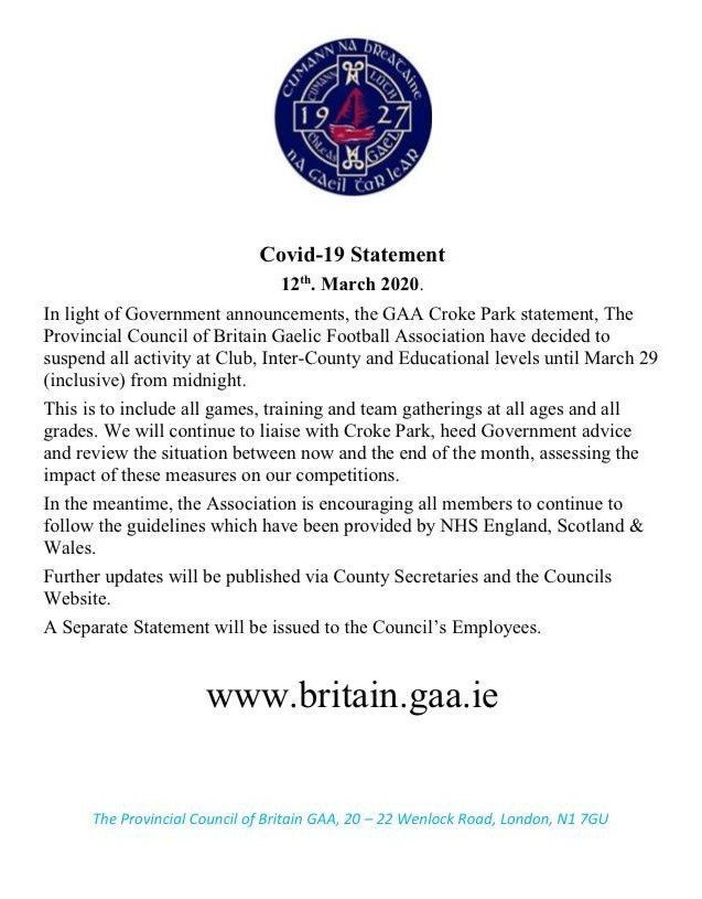 Provincial Council of Britain Covid-19 Statement 12.3.2020