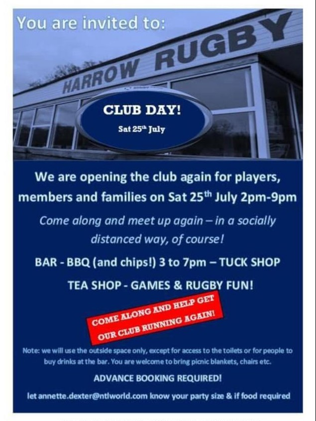Harrow Rugby Club-CLUB DAY Sunday 26th July